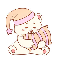 sleeping bear with pillow sweet dreams cute kawaii vector image