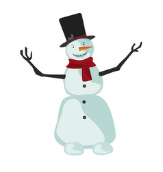 snowman with scarf and santa claus hat vector image