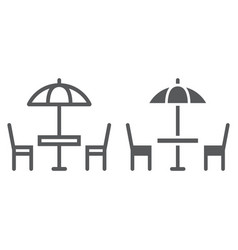 street cafe line and glyph icon table and chair vector image