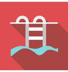 Swimming pool with stairs icon flat style vector