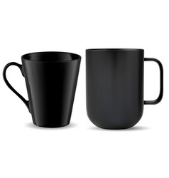 tea mug black handle coffee cup mockup template vector image