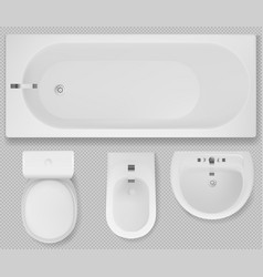 Toilet bowl bathtub sink and bidet top view vector