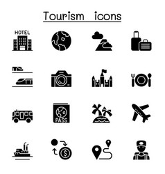 traveling transport tourism icon set graphic vector image