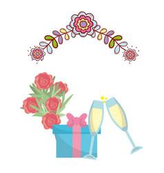 wedding floral decoration cartoon vector image