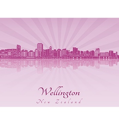 Wellington skyline in purple radiant orchid vector