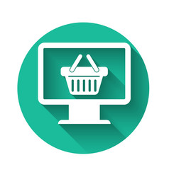 White computer monitor with shopping basket icon vector