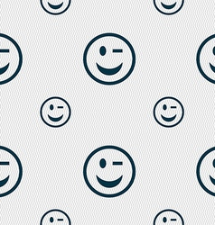 Winking face icon sign seamless pattern vector