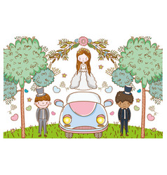 Woman and men with car and flowers plants vector
