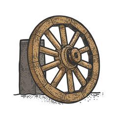 wooden cart wheel sketch vector image