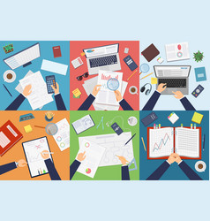 workplace top view businessman professional vector image