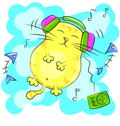 yellow fat cat listening to music on headphones vector image