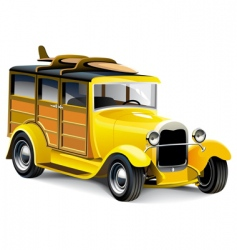 yellow hot rod vector image