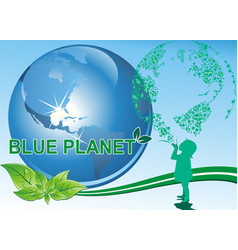 background - a girl and a blue planet vector image
