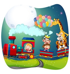 girls and animals on train vector image
