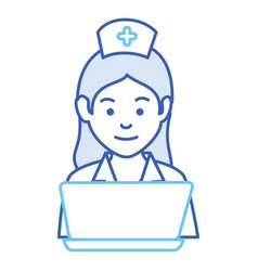 nurse with laptop avatar character vector image vector image