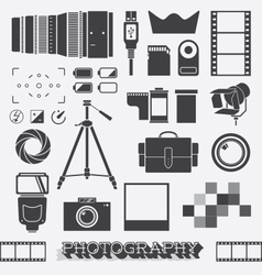 Photography and Camera Objects vector image vector image