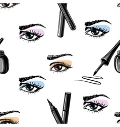 Seamless pattern of woman eye and makeup elements vector image vector image