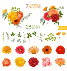 Vintage flowers and leaves - in watercolor style vector