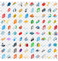 100 app icons set isometric 3d style vector image vector image