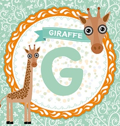 ABC animals G is giraffe Childrens english vector image
