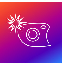 camera icon with flash on the colored background vector image