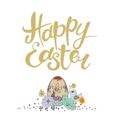 Happy easter lettering typographical vector