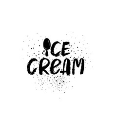 ice cream graphic brush lettering vector image