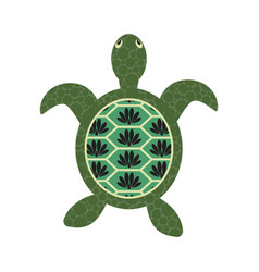 turtle cartoon with decorated tortoiseshell vector image