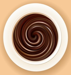 Background of swirling black chocolate in a bowl vector