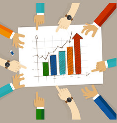 bar chart increase team work on paper looking to vector image vector image