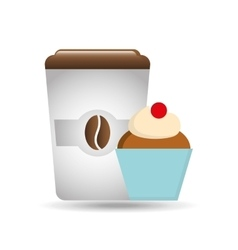 cartoon cupcake sweet with white cup coffee icon vector image