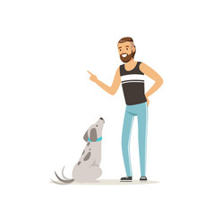 handsome man teaching his dog to sit bearded guy vector image