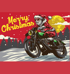 santa claus riding vintage motorcycle vector image