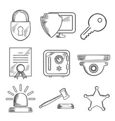 Security and safety sketched icons set vector image