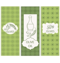 Set linear olive flyers ornament vector image