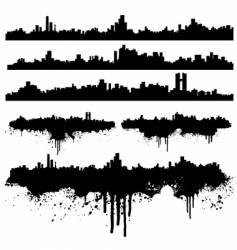 urban skylines splatter collection vector image vector image