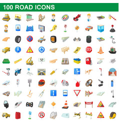 100 road icons set cartoon style vector image vector image