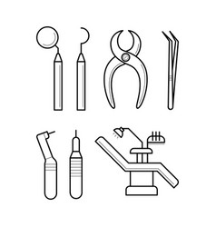Icons of clinic stomatology equipment vector