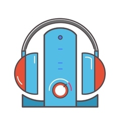 Wireless headphones with dock station flat icon vector image vector image