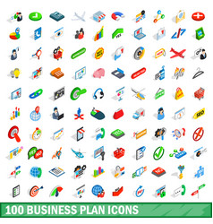 100 business plan icons set isometric 3d style vector image