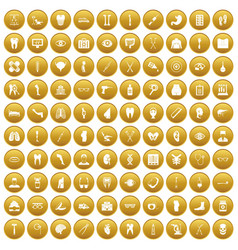 100 medicine icons set gold vector