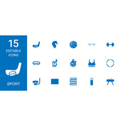 15 sport icons vector