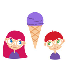 A girl and boy with ice cream vector