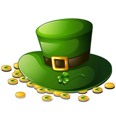 A green hat and coins for St Patricks Day vector image