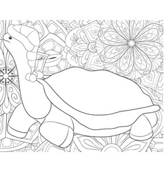 adult coloring bookpage a cute cartoon turtle vector image