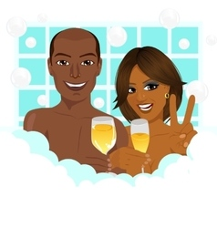 African american couple taking a bath vector