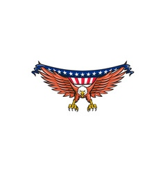 American eagle swooping usa flag retro vector