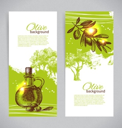 Banner set of vintage olive background vector image
