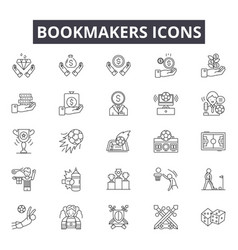 bookmakers line icons signs set outline vector image