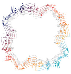 Border template with colorful musicnotes vector